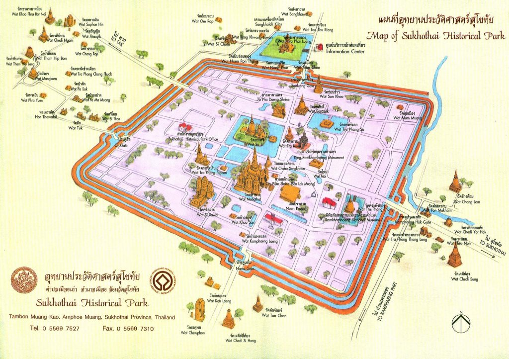Sukhothai old city tourist map