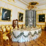 Dining room in Palace of Catherine the Great in Russia